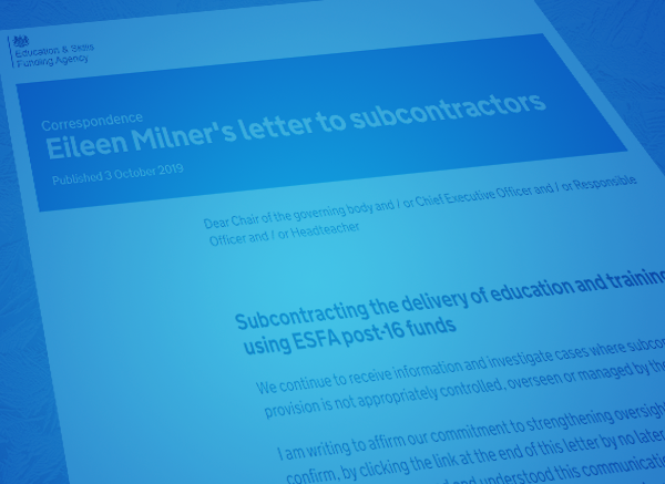 The ESFA's Eileen Milner Signals Crackdown on Post-16 Subcontracting Delivery